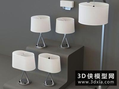现代台灯组合国外3D模型【ID:829451972】