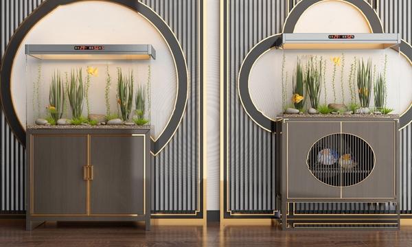 新中式魚缸水族組合3D模型【ID:247686532】