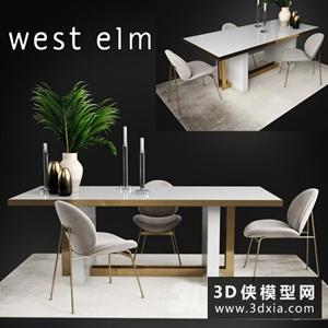 現代餐桌椅組合國外3D模型【ID:729319779】