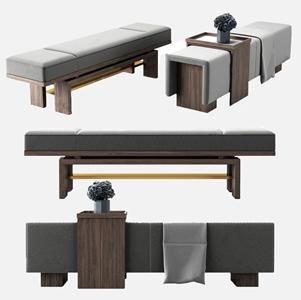 新中式床尾椅3D模型【ID:732412648】