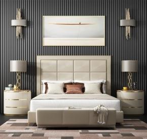 現代雙人床床頭柜臺燈組合3D模型【ID:727807053】