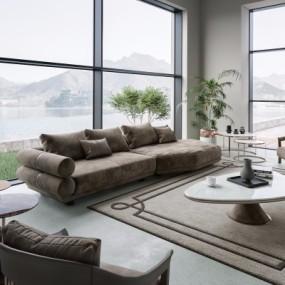 (悬赏模型)意大利LONGHI品牌现代客厅沙发组合3D模型【ID:128413082】