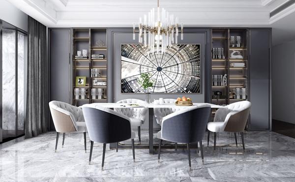 現代輕奢大理石餐桌椅3D模型【ID:847180832】