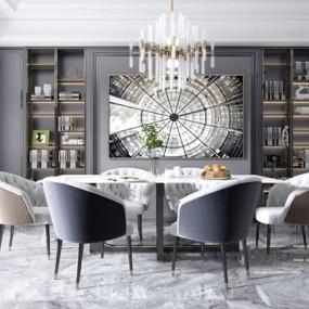 现代轻奢大理石餐桌椅3d模型【ID:847180832】