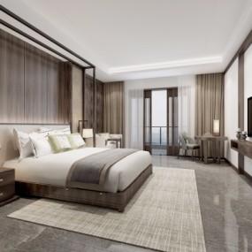 新中式酒店客房套间3D模型【ID:427795671】
