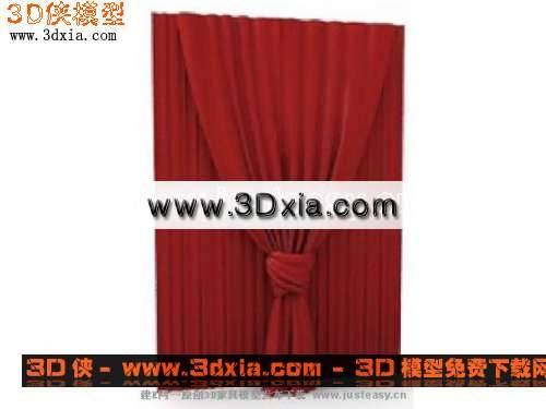 精选家具-红色的窗帘3D模型【ID:6266】