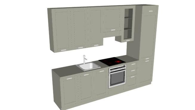 现代厨房设计SU模型【ID:838046305】