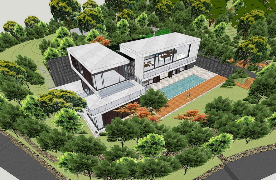 现代风格别墅带景观SU模型【ID:236394386】