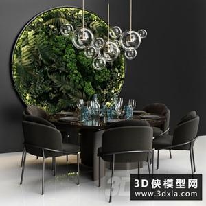 現代餐桌椅組合國外3D模型【ID:729306779】