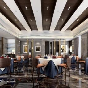 现代轻奢西餐厅3D模型【ID:228423996】