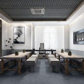 新中式茶室 3D模型【ID:641806135】
