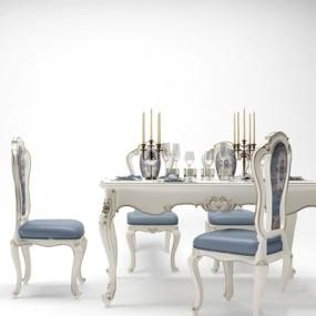 欧式餐桌椅组合3D模型【ID:328251611】