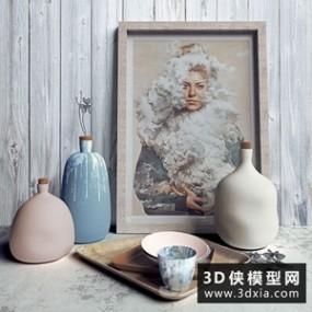装饰花瓶组合国外3D模型【ID:929312826】
