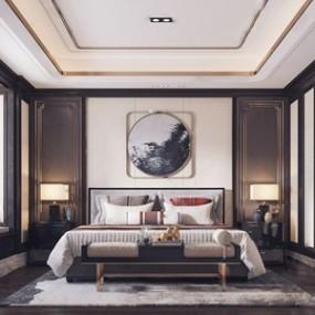 新中式卧室 3D模型【ID:541632299】