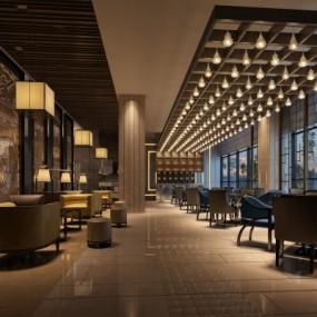 现代酒店大堂吧3D模型【ID:527801164】