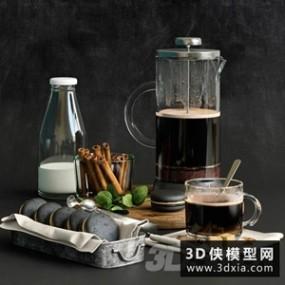 早餐食物模型组合国外3D模型【ID:929321550】