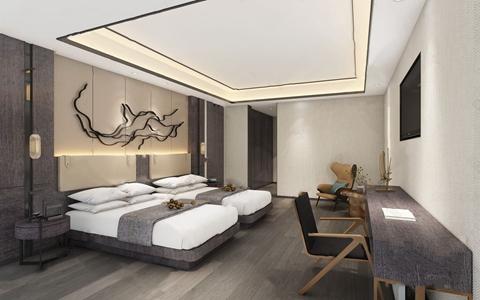 新中式客房3D模型【ID:220809479】