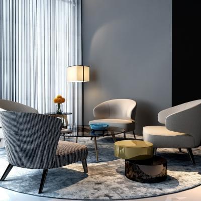 现代休闲沙发茶几落地灯组合3D模型【ID:327789680】