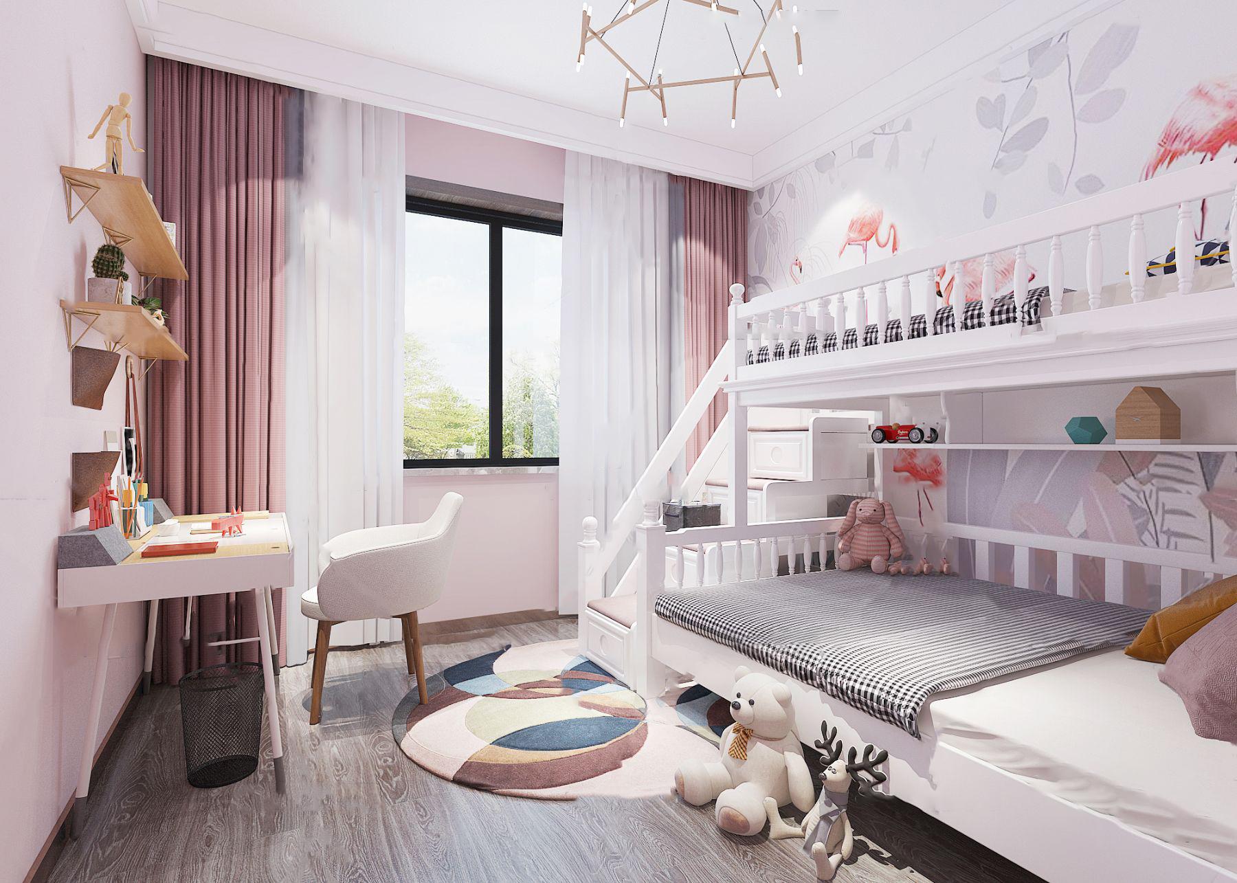北欧女孩房儿童房3D模型【ID:543276702】