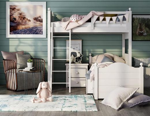 北欧儿童床3D模型【ID:628296964】
