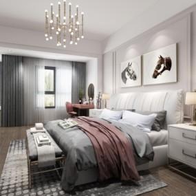 现代卧室3d模型【ID:128414385】