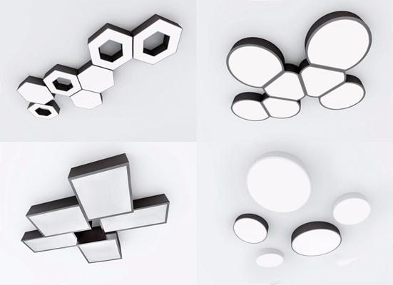 現代吸頂燈組合3D模型【ID:628293079】