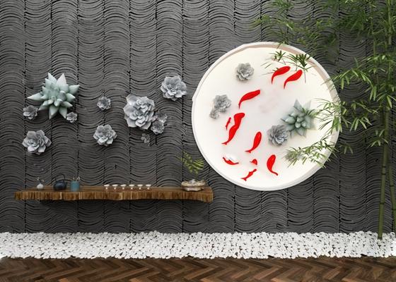 中式景观小品3D模型【ID:824882070】