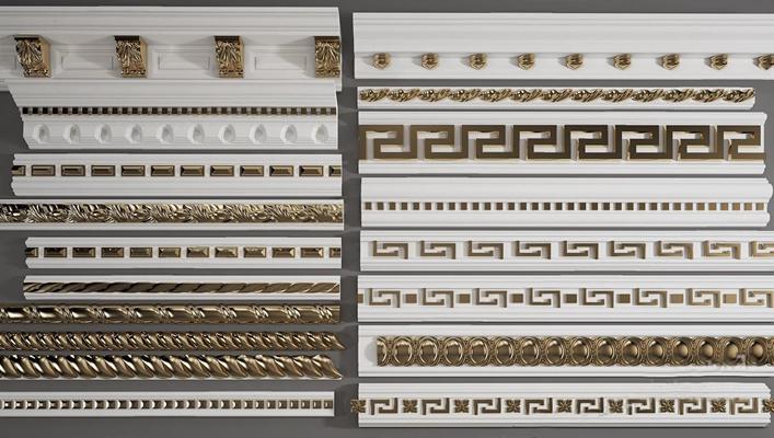 欧式石膏线雕花组合3D模型【ID:828141688】