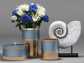 现代金属花瓶插花摆件组合3D模型【ID:927823159】