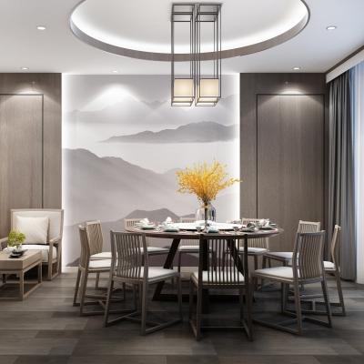 新中式餐廳包廂書房3D模型【ID:328437698】