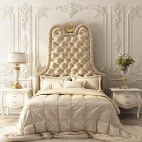 欧式奢华卧室床具植物组合3D模型【ID:728060048】