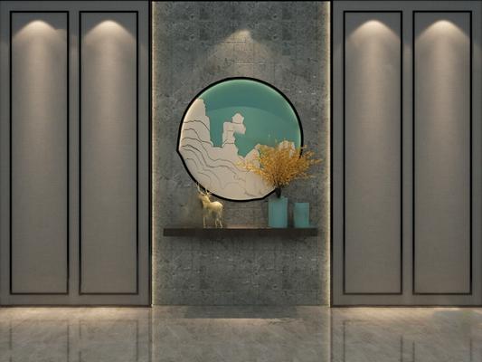现代背景墙3D模型【ID:324889596】
