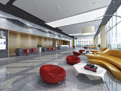 現代办公大厅3D模型【ID:932396226】