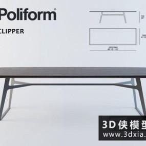 现代餐桌国外3D模型【ID:729618711】