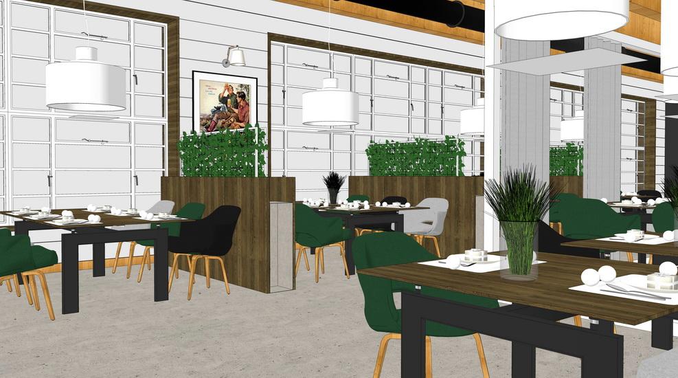 北歐風格咖啡廳室內設計SU模型【ID:936395876】
