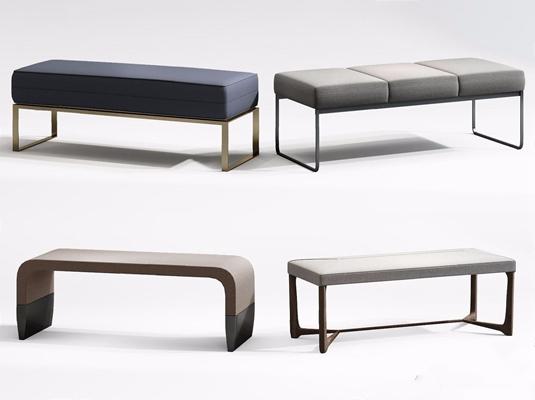 現代床尾凳組合3D模型【ID:427990622】