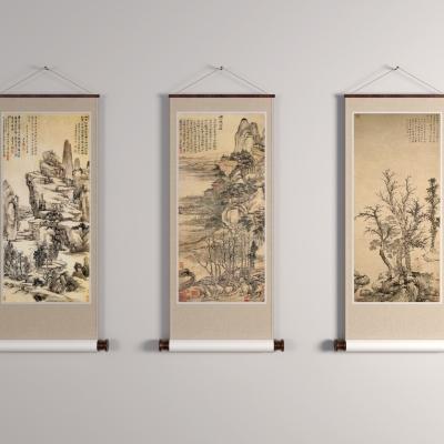 中式卷轴挂画装饰画3D模型【ID:128410081】