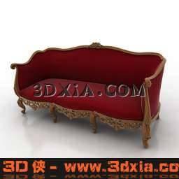 极至经典的红色多人沙发3D模型下载【ID:6469】