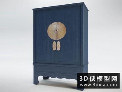 中式装饰柜国外3D模型【ID:829589043】