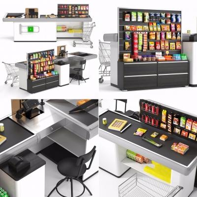 现代超市收银台零食商品货架组合3D模型【ID:927838256】