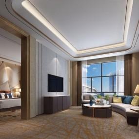 现代酒店豪华套房3D模型【ID:427980628】