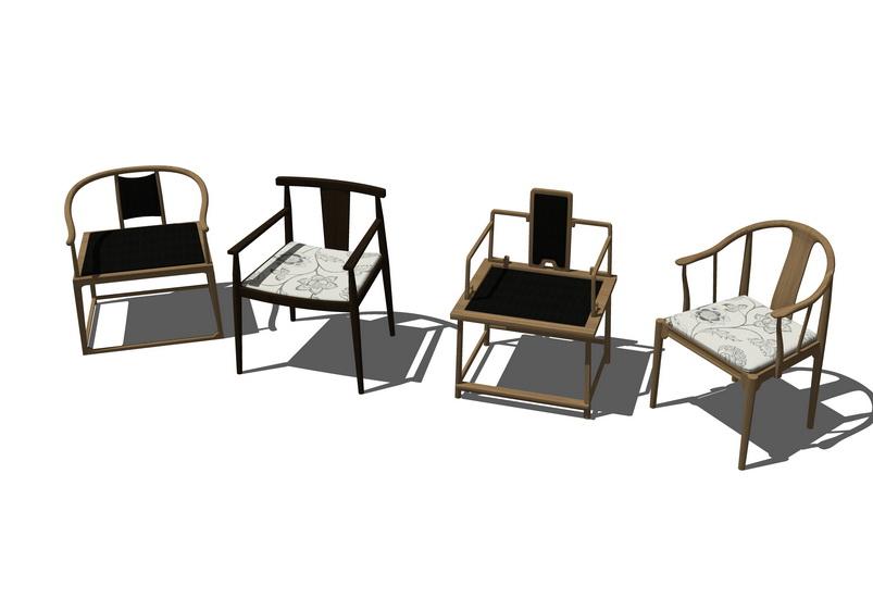 中式椅子組合SU模型【ID:936396433】