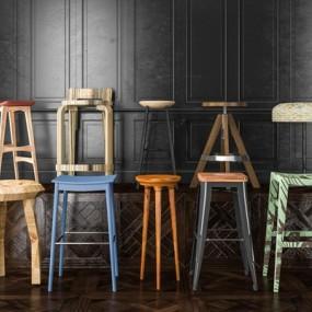 现代吧台椅组合3D模型【ID:427940567】