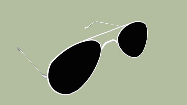 帶白邊的飛行員太陽鏡SU模型【ID:839834596】