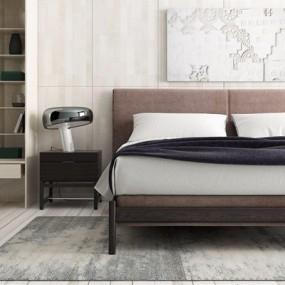 现代简约双人床床头柜3D模型【ID:728305051】