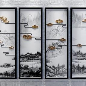 新中式挂画山水意境装饰画立体画四联画3D模型【ID:127845773】