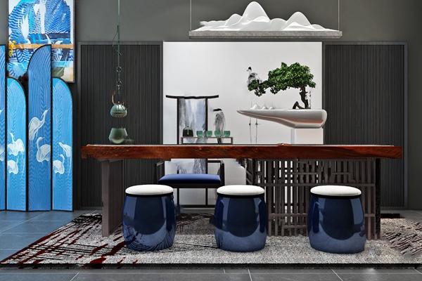 中式茶桌椅3D模型【ID:320605685】