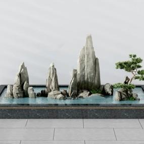 新中式假山水池景观小品3d模型【ID:147179462】