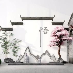 新中式庭院景观3D模型【ID:828322463】
