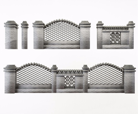 中式围墙3D模型【ID:528280417】